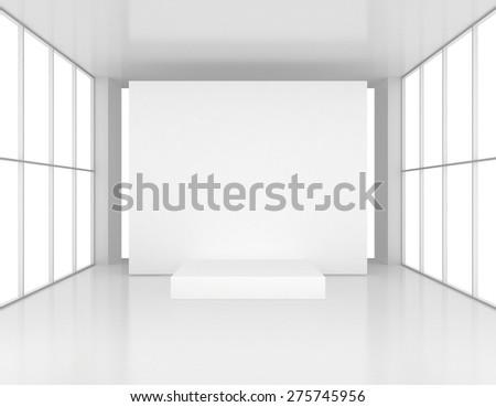 White presentation room with pedestal. 3d render - stock photo
