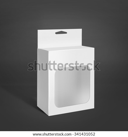 White Product Package Box With Window over grey background. mockup - stock photo