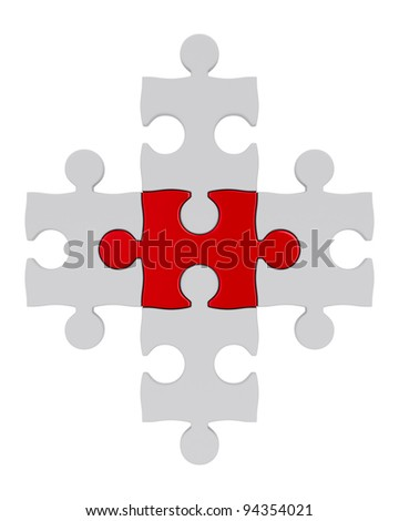 White puzzle and one red. Isolated 3D image - stock photo