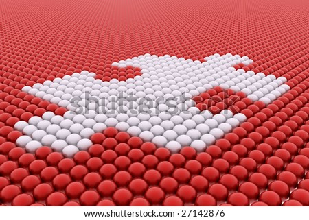 White puzzle balls on red balls background 3d render