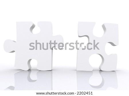 white puzzle pieces - teamwork concept on white - stock photo