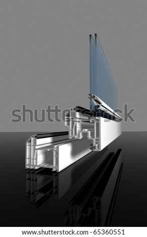 White PVC window cut out with glass - stock photo
