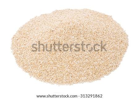 White Quinoa isolated on white background - stock photo