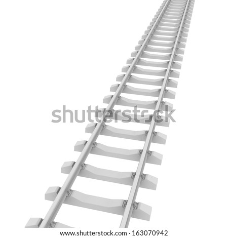 White railroad. 3d rendering on white background