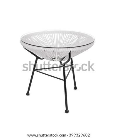 White Rattan Coffee Table On White Background