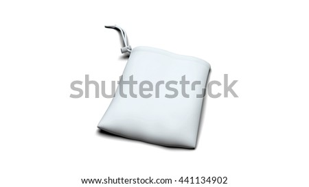 White ready for branding synthetic fabric bag with strings and drag fixation isolated on white backgrounds with shadows. 3D illustration render