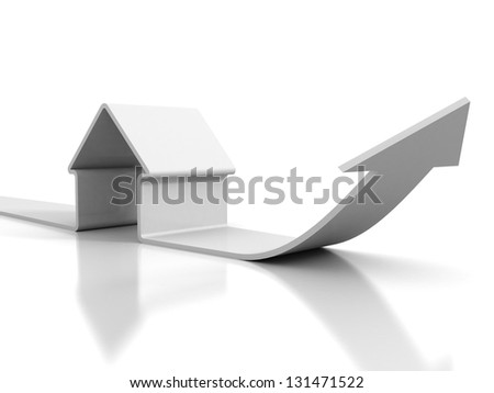 white real estate concept house with growing arrow - stock photo