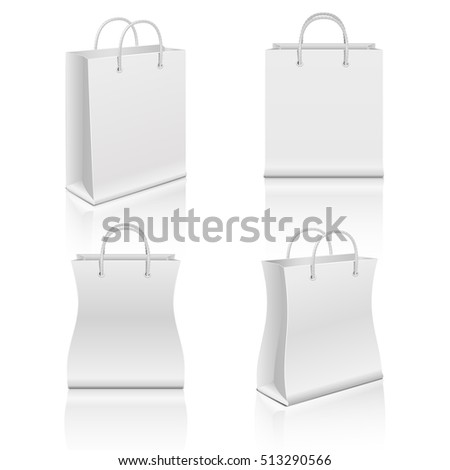 White realistic blank paper shopping bags set. Paper bag for shopping, illustration bag for merchandise