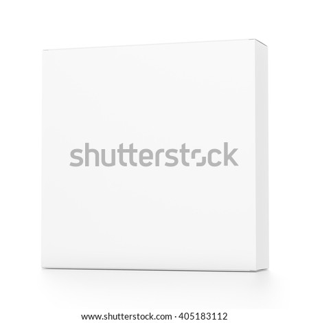 White rectangle blank box from front far side angle. 3D illustration isolated on white background. - stock photo