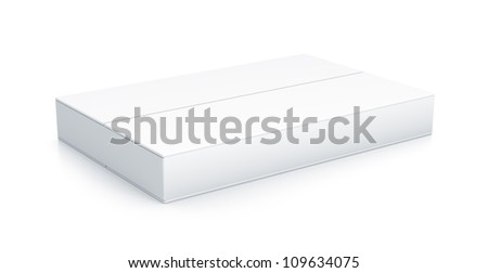 White rectangle box. High resolution 3D illustration with clipping paths.