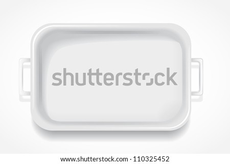 white rectangular fiberglass steam table with handles on a white background - stock photo