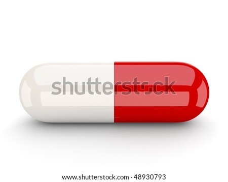 white red pill - stock photo