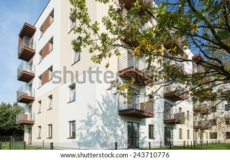 White residential block in new exclusive housing development - stock photo