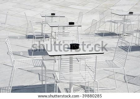 White restaurant terrace - stock photo
