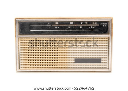 White Retro radio on a white background. Isolated
