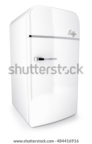 White retro refrigerator isolated on white background 3d