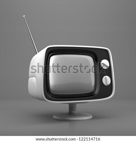 White retro TV on grey background - stock photo