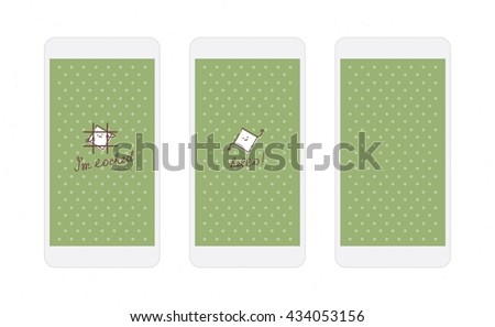 White rhombus on green background screens for mobile phone app with funny rhombus character