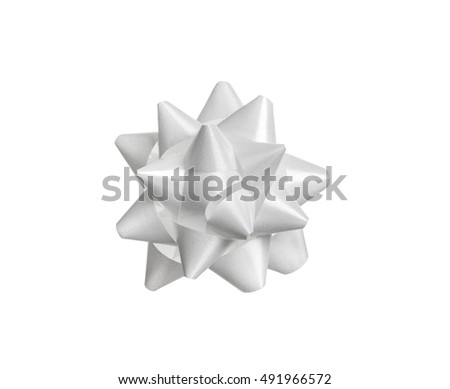 white ribbon bow for gift box isolated on white background