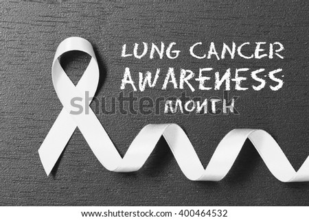 White ribbon. Lung cancer awareness.