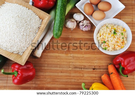 white rice and variety of vegetables for cooking traditional Chinese cuisine