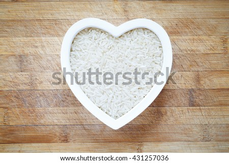White rice in heart shape bowl