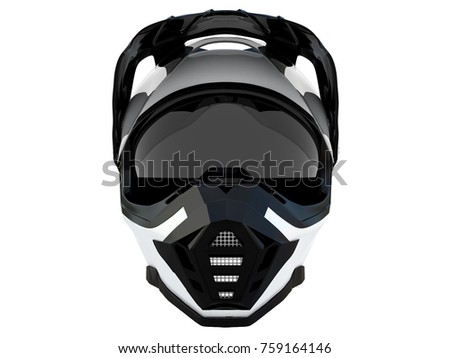 white rider helmet for race with black or white accesories on a white background 3d rendering