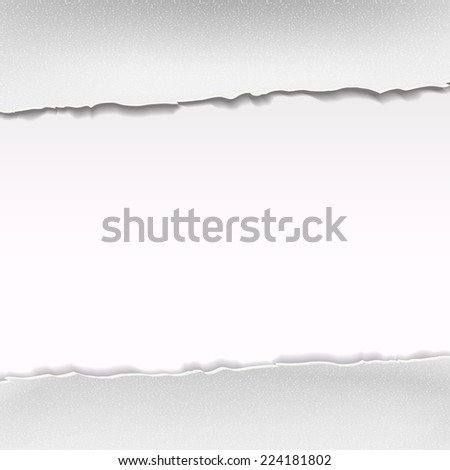 white ripped paper isolated on white background - stock photo