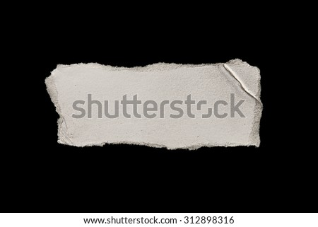 White Ripped Piece of Paper isolated on Black Background. Top View of Blank Adhesive Paper Tag. Blank Note with Copy Space for Text or Image - stock photo