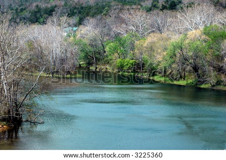 White River in spring-NW Arkansas-Ozark mountains - stock photo