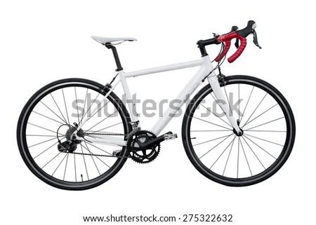 white road bike isolated on white background - stock photo