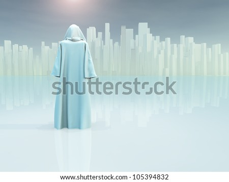 White robed traveler journeys to holy city - stock photo