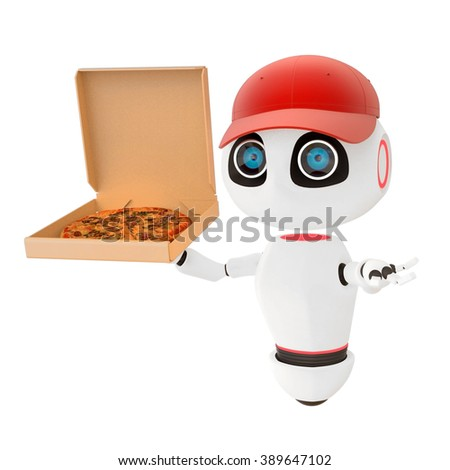 White robot pizza delivery Glossy cute red cap 3d render. Isolated on white. easily applicable for design - stock photo