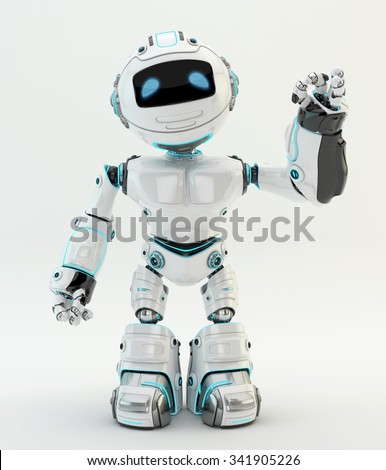 White robotic character showing ok sign