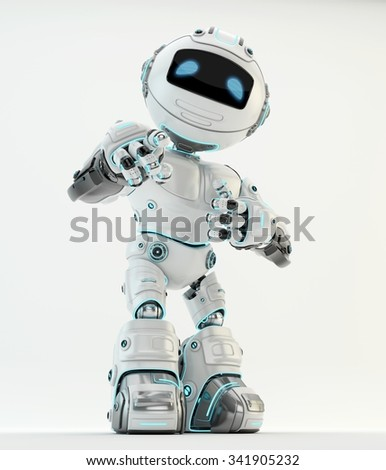 White robotic character showing ok sign and pointing on you - stock photo