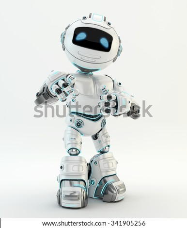 White robotic character showing ok sign and pointing on you