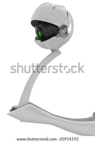 White robotic eye, vertical, isolated