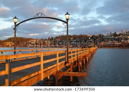 White Rock is a popular tourist destination on the west coast of British Columbia near the United States border.  - stock photo
