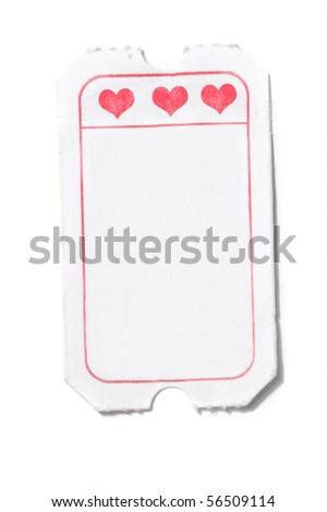 white romantic ticket isolated - stock photo