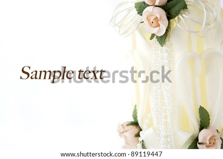 white romantic wedding candle with space for text - stock photo