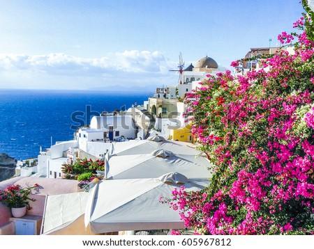 White Rooftops Santorini Greece Overlooking Cobalt Stock