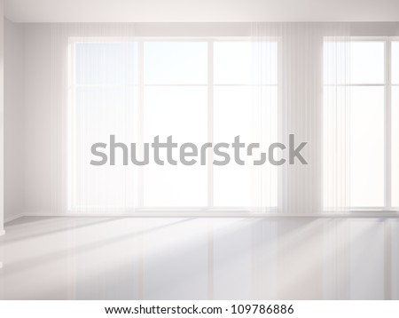 white room and white curtains - stock photo