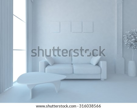 white room. 3d illustration