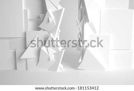 White room, 3d space with various forms - stock photo