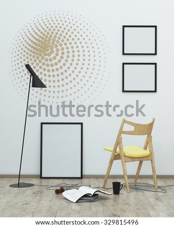 White room interior with a lamp and chair . 3d rendering - stock photo