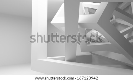 White room interior with abstract construction of cubes. 3d render illustration - stock photo