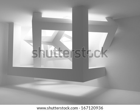 White room interior with abstract construction of cubes in the corner. 3d illustration - stock photo