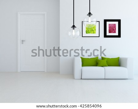 White room . Living room interior. Scandinavian interior. 3d illustration - stock photo