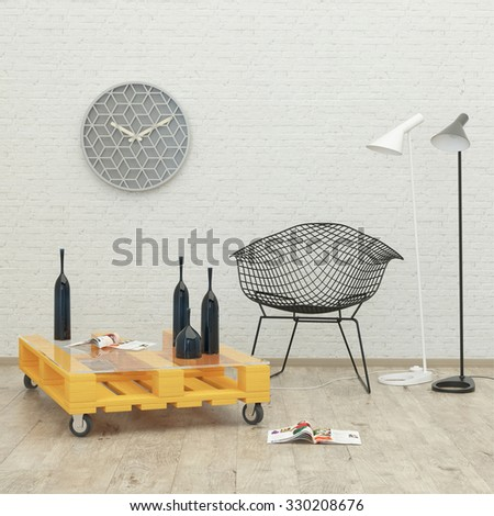White room loft  interior with a lamp and chair . 3d rendering - stock photo