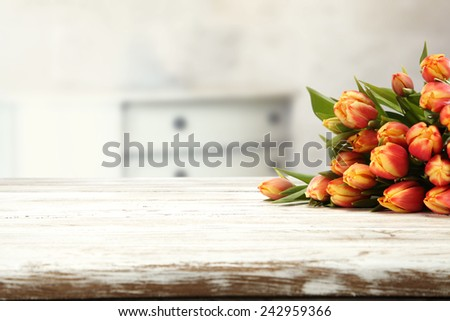 white room of flowers  - stock photo